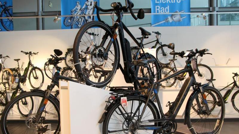 Verschiedene Modelle von Elektro-Fahrrädern sind in einem Fahrrad-Geschäft ausgestellt. Foto: Philipp Brandstädter/dpa/Archiv