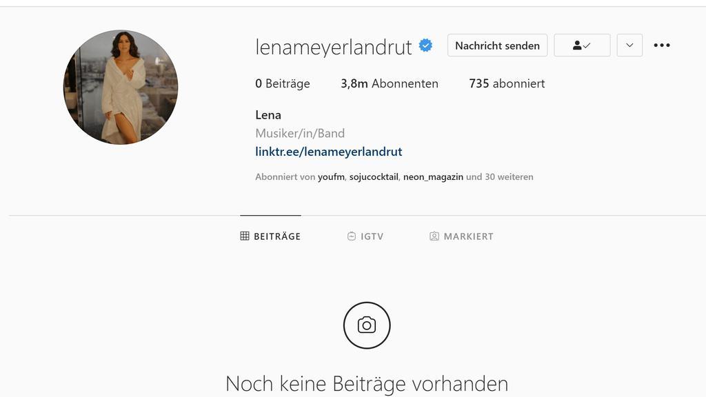 Lena Meyer-Landruts Instagramprofil ist leer.