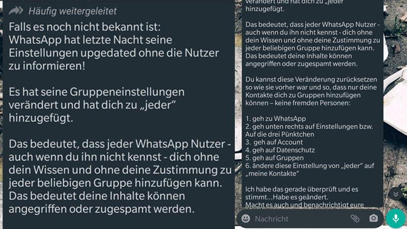Die WhatsApp-Nachricht kursiert zurzeit in vielen Chat-Verläufen.