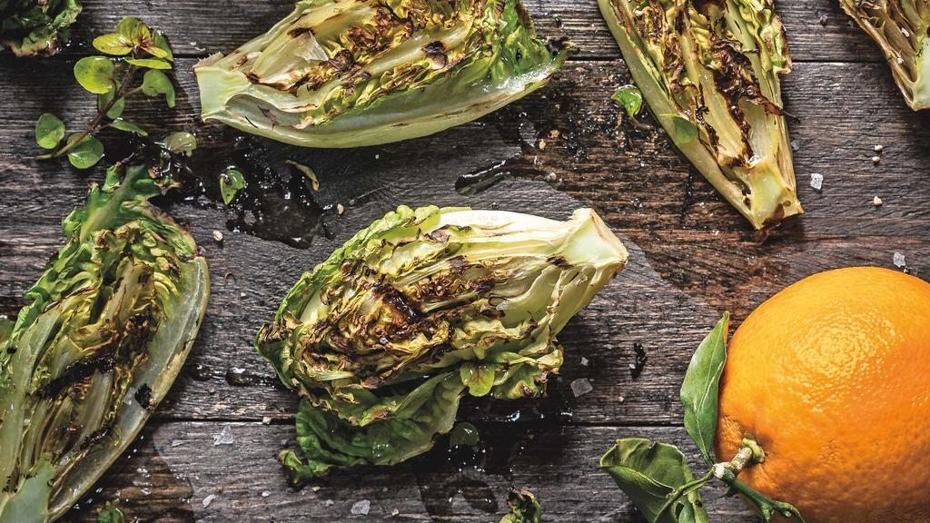 Gegrillter Salat mit Oregano- und Orangenvinaigrette