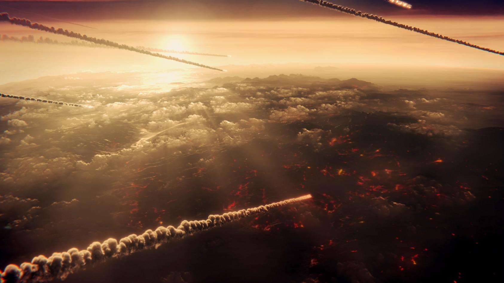 Es gilt als sehr wahrscheinlich, dass ein Asteroideneinschlag die Dinosaurier vernichtete.