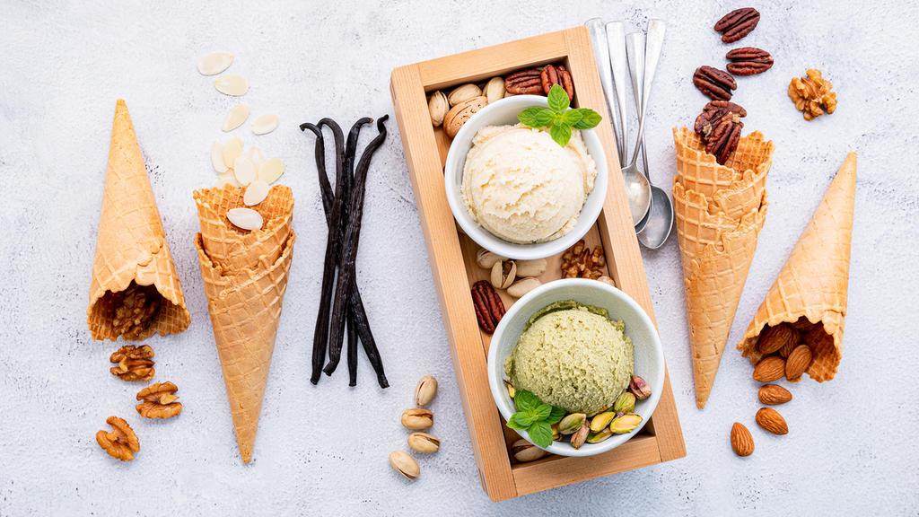 Zutaten für Vanille- und Pistazieneis