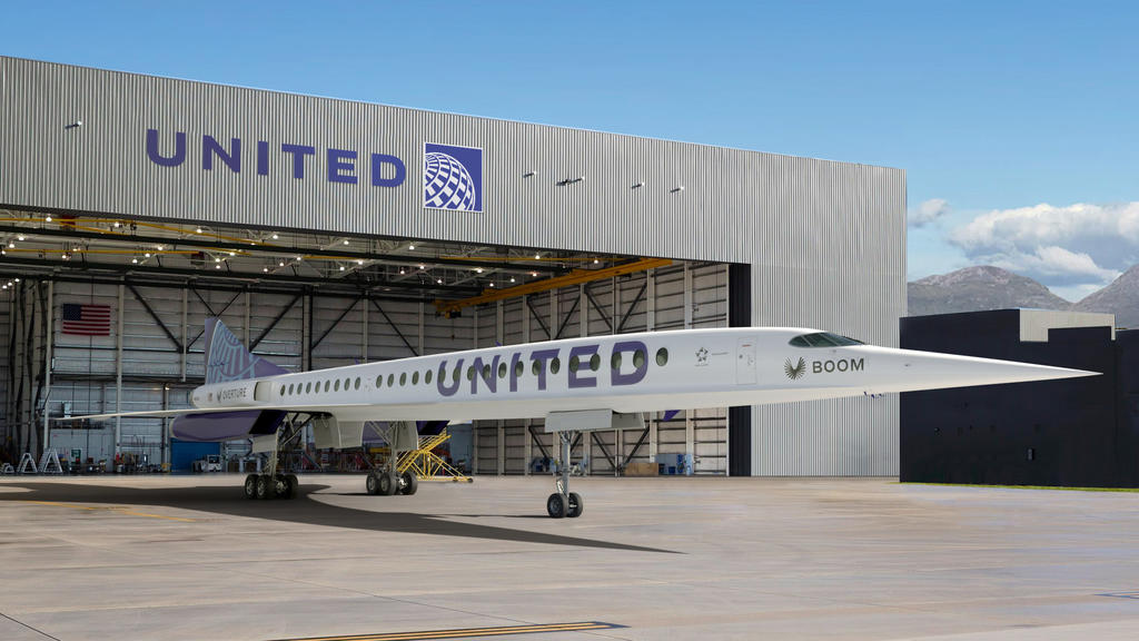 This photo provided by Boom Supersonic shows an artist's rendition of United Airlines Boom Supersonic Overture jet.  United said Thursday, June 3, 2021 that it reached a deal with startup aircraft maker Boom Supersonic to buy 15 of Boom's Overture