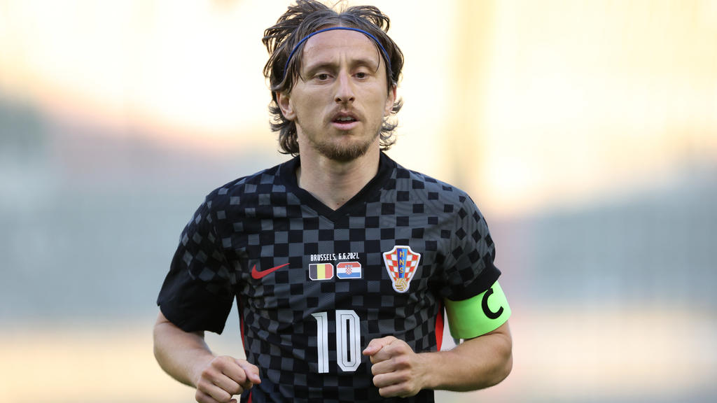 06.06.2021, Belgien, Brüssel: Fußball: Länderspiele, Belgien - Kroatien: Kroatiens Kapitän Luka Modric in Aktion. Foto: Virginie Lefour/BELGA/dpa +++ dpa-Bildfunk +++
