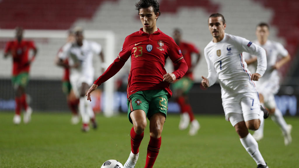 Portugal's Joao Felix goes for the ball during the UEFA Nations League soccer match between Portugal and France at the Luz stadium in Lisbon, Saturday, Nov. 14, 2020. Exciting talents like Phil Foden, Joao Felix and Ferran Torres are among a host of