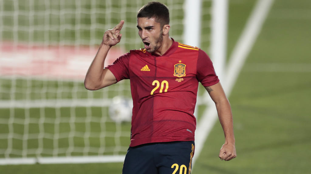FILE - In this Sunday, Sept. 6, 2020 file photo, Spain's Ferran Torres celebrates after scoring his team's fourth goal during the UEFA Nations League soccer match between Spain and Ukraine at the Estadio Alfredo Di Stefano stadium in Madrid, Spain. E