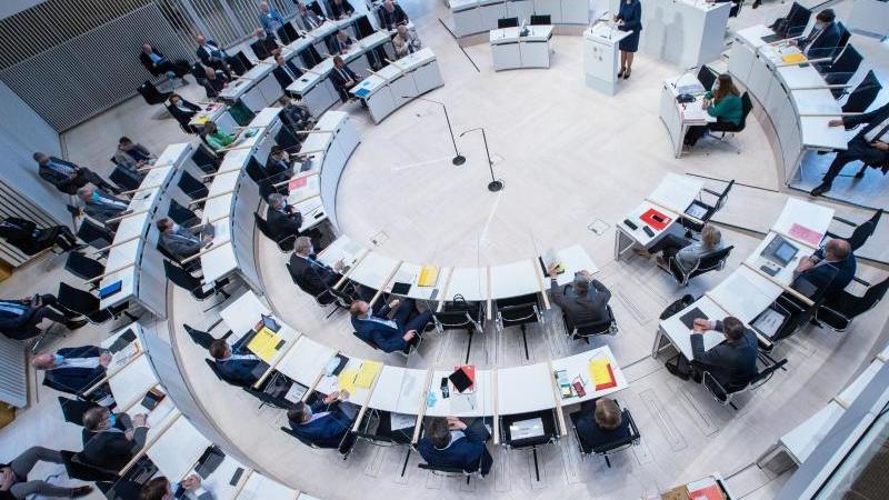 Blick in den Landtag von Mecklenburg-Vorpommern. Foto: Jens Büttner/dpa-Zentralbild/dpa/Archivbild