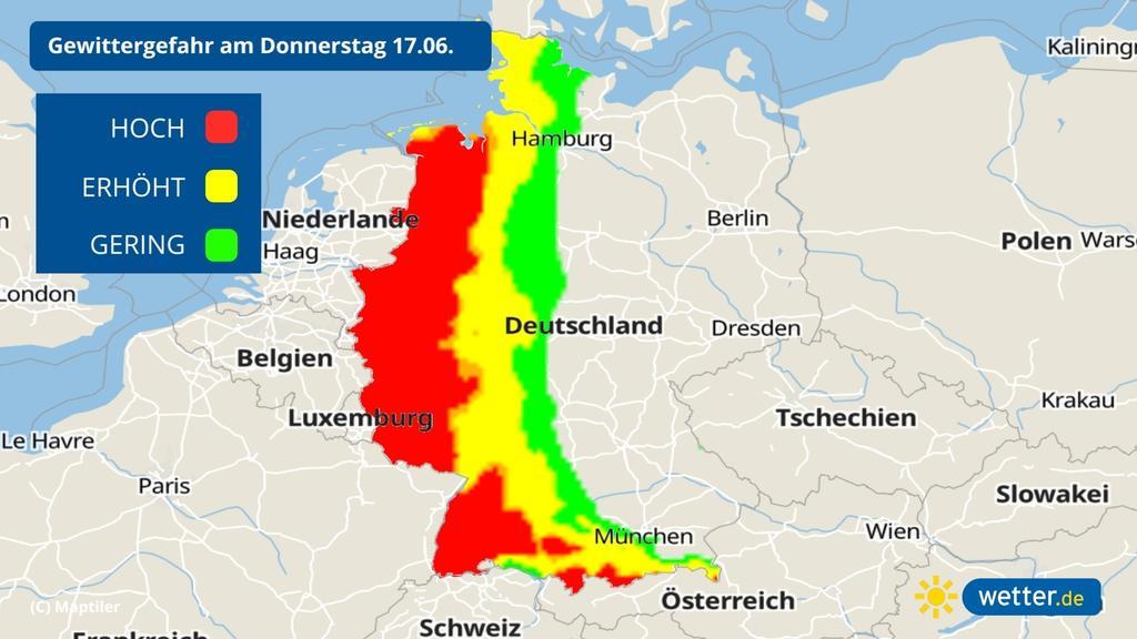 Das Gewitterrisiko am 17 06 2021