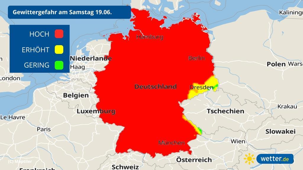 Das Gewitterrisiko am 19 06 2021