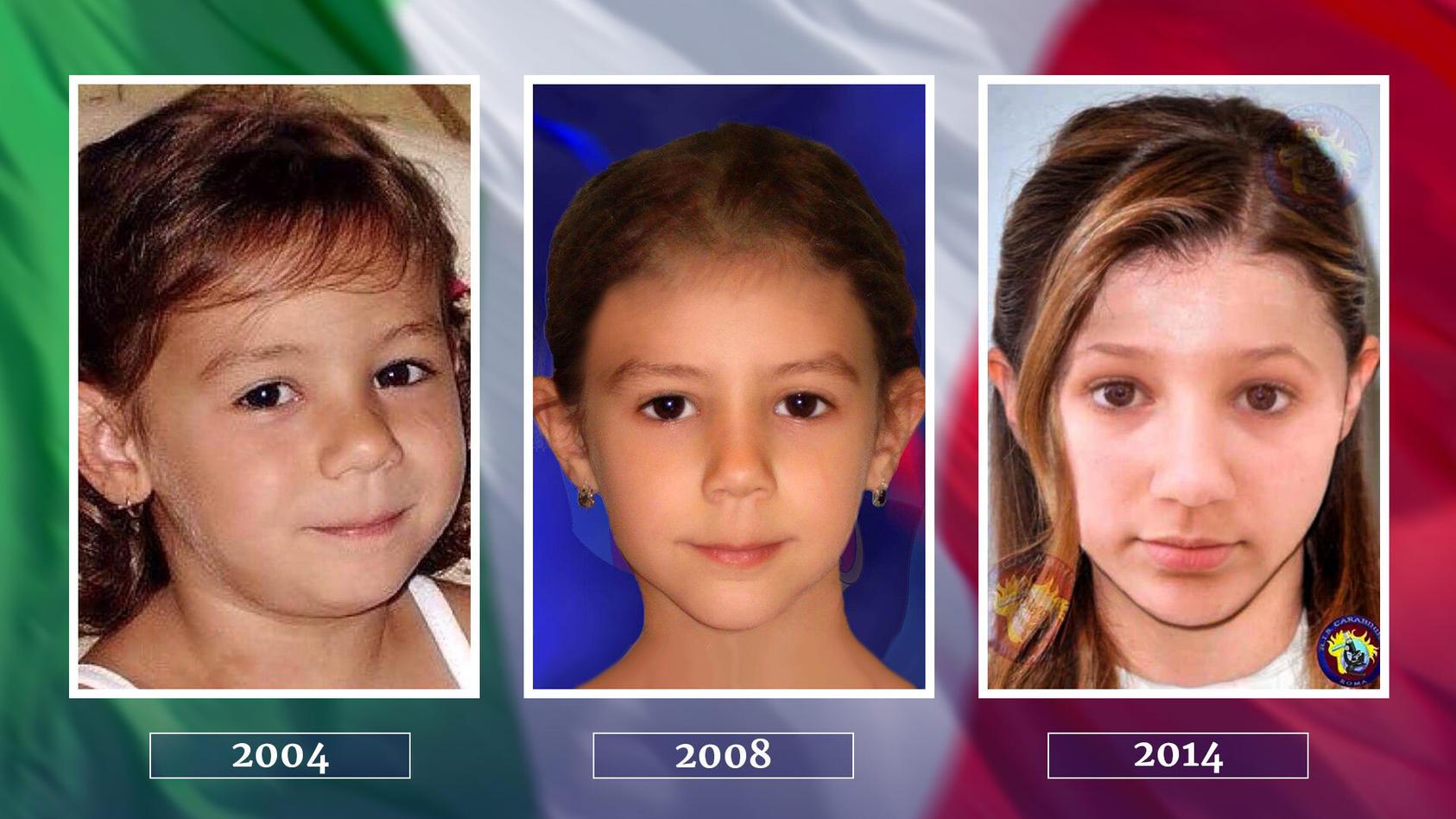 So könnte Denise Pipitone sich im Laufe der Jahre verändert haben: 2008 und 2014 erstellten die italienischen Behörden Bilder des vermissten Mädchens.