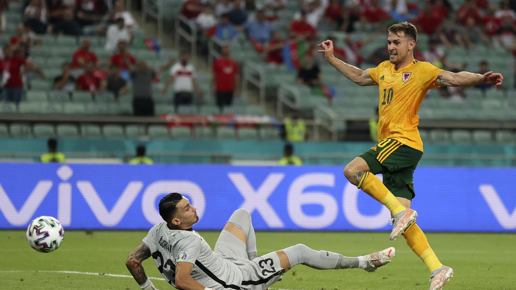 Mit seinem Treffer gegen die Türkei öffnet Aaron Ramsey das Achtelfinal-Tor für Wales bei der EM.