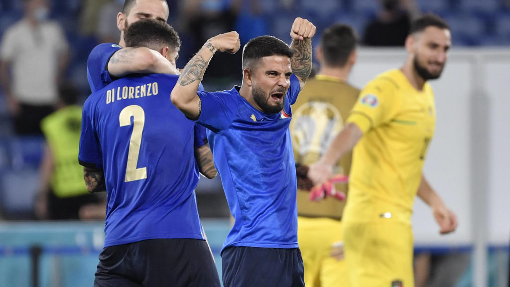 Lorenzo Insigne of Italy celebrates after victory the UEFA EURO, EM, Europameisterschaft,Fussball 2020 Group stage - Group A football match between Italy and Switzerland at stadio Olimpico in Rome Italy, June 16th, 2021. Photo Andrea Staccioli / Insi
