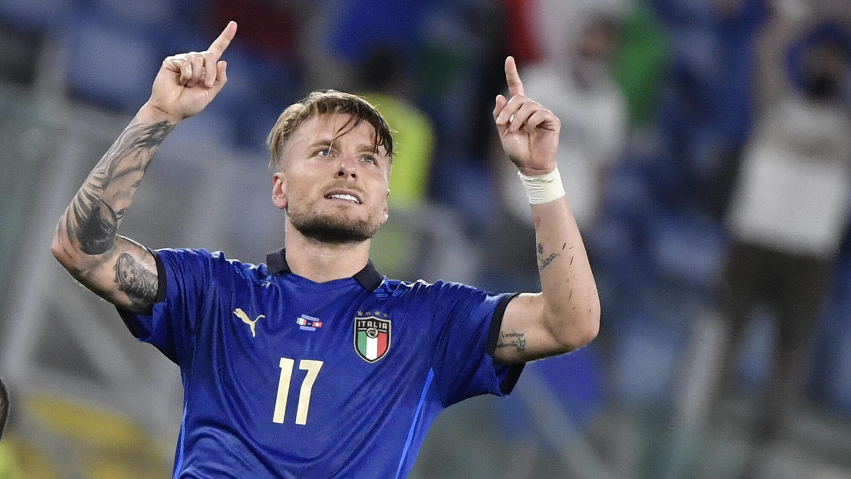 Ciro Immobile of Italy celebrates after scoring the goal of 3-0 during the UEFA EURO, EM, Europameisterschaft,Fussball 2