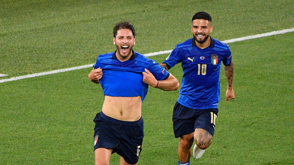 June 16, 2021, Rome, Italy: Manuel Locatelli of Italy celebrates after scoring goal 1-0 seen in action during the UEFA EURO, EM, Europameisterschaft,Fussball 2020 Group A - Italy vs Switzerland at the Olimpic Stadium in Rome. / LiveMedia UEFA Europe