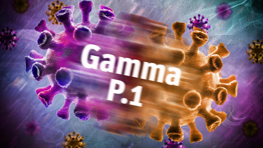 Symbolfoto von mutiertem Coronavirus der Gamma-Variante P.1.