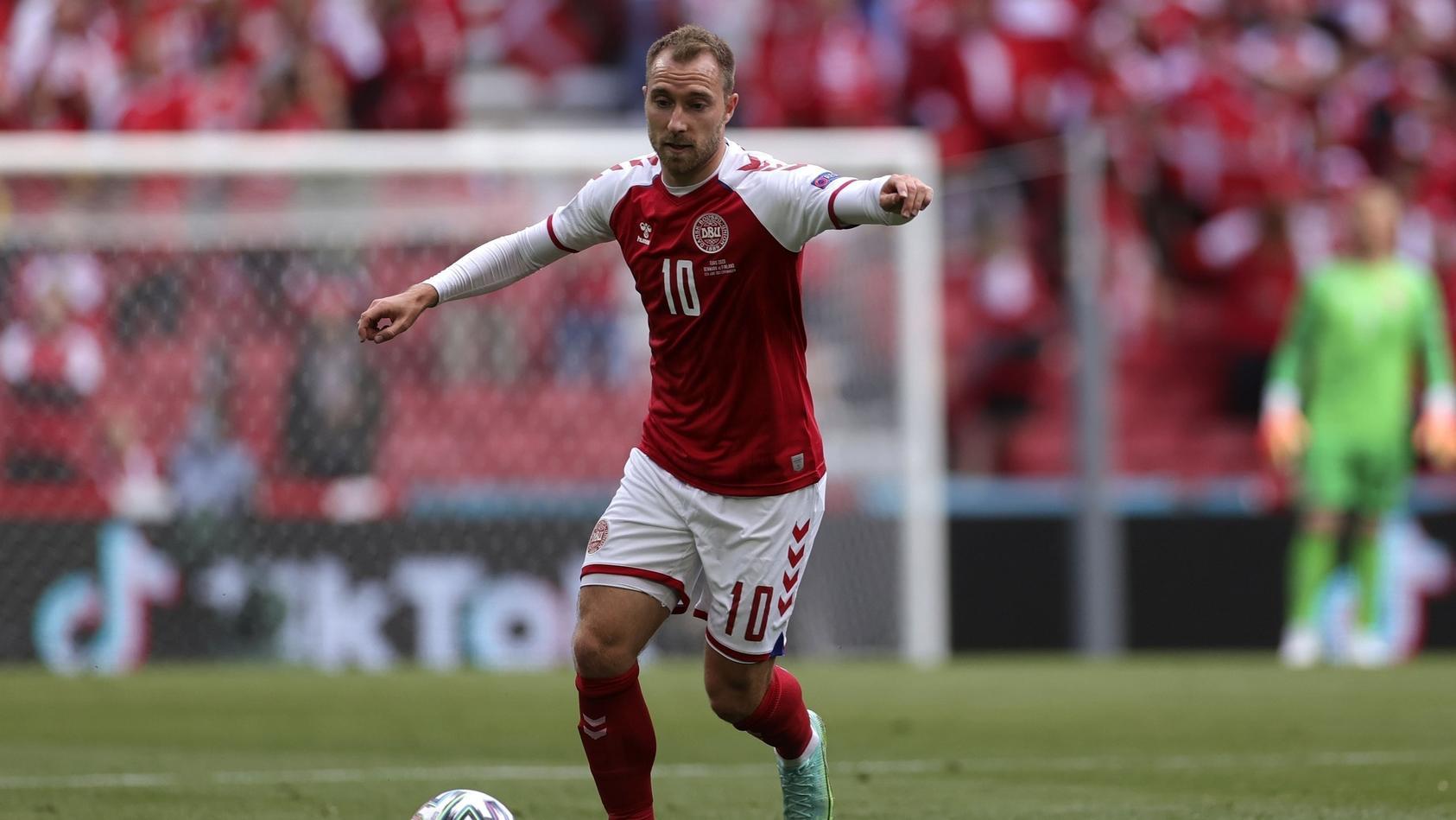 Christian Eriksen vor seinem Zusammenbruch im Spiel gegen Finnland.