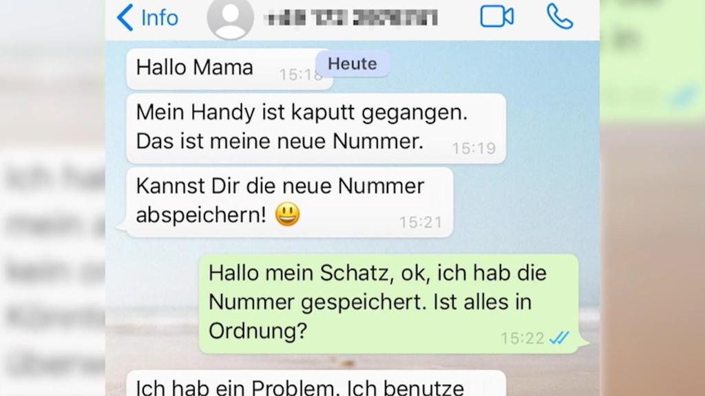 Handy-Screenshot von Betrugsnachrichten