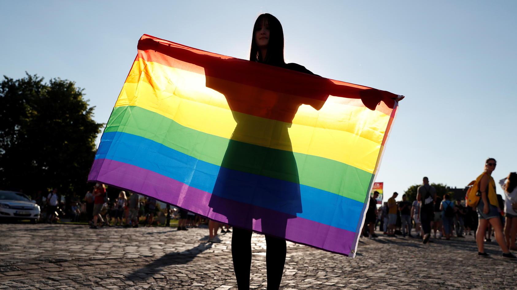 Demonstranten in Budapest gehen gegen das Homosexuellen-Gesetz auf die Straße.