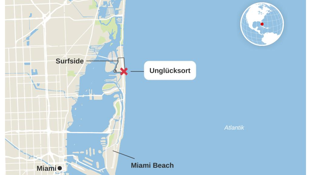 Der Unglücksort in Miami. Die Anlage Champlain Towers South liegt in unmittelbarer Nähe zum Strand.