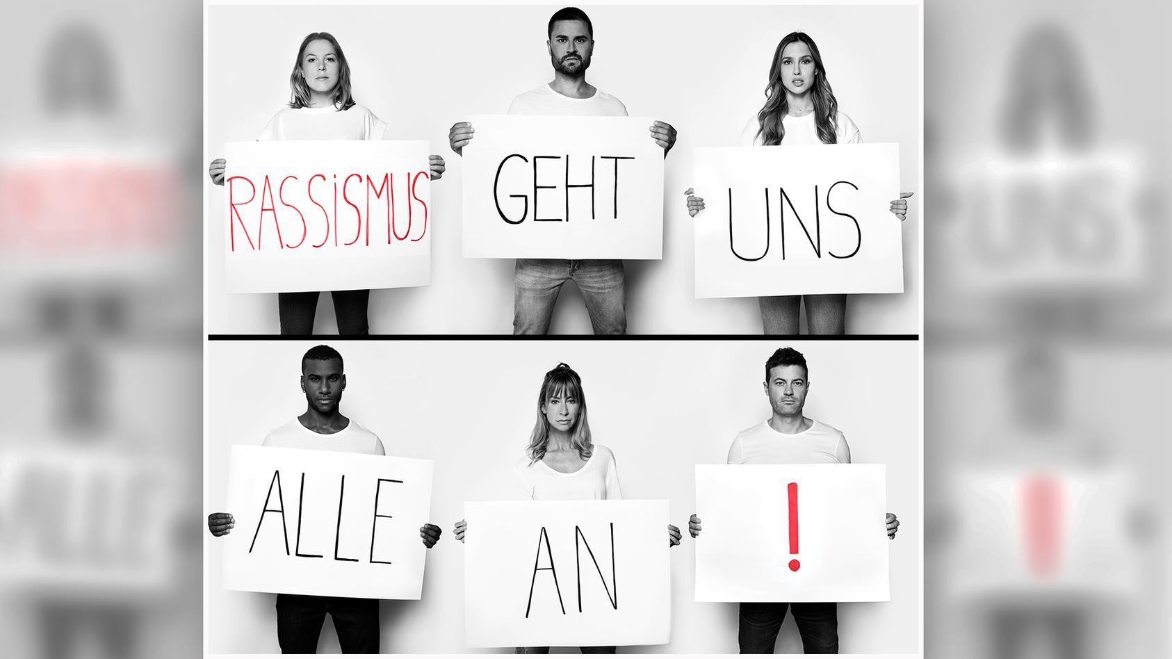 """Die Stars aus den RTL-Serien """"Unter uns"""" und """"Alles was zählt"""" machen sich gegen Rassismus stark."""