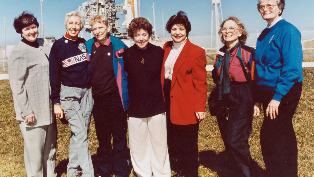 FILE - In this 1995 file photo, members of the FLATs, also known as the Mercury 13, gather for a photo as they attend a shuttle launch in Florida. From left are Gene Nora Jessen, Wally Funk, Jerrie Cobb, Jerri Truhill, Sarah Rutley, Myrtle Cagle and
