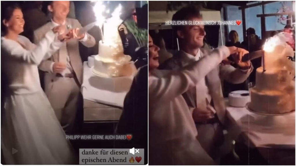 Johannes Mickenbecker und Lara schneiden ihre Hochzeitstorte an.
