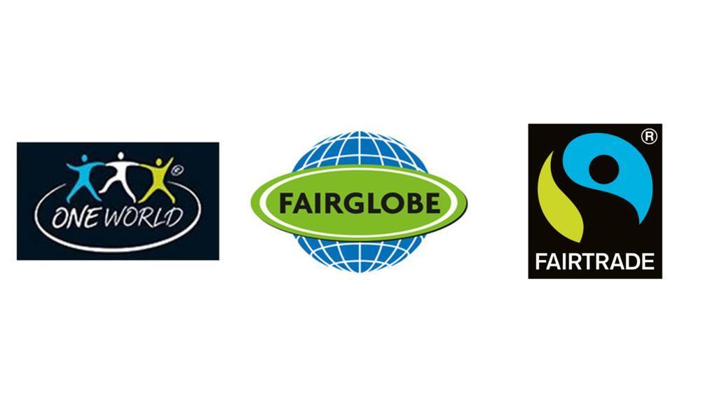 Logos wie diese kennzeichnen Fair-Trade-Produkte