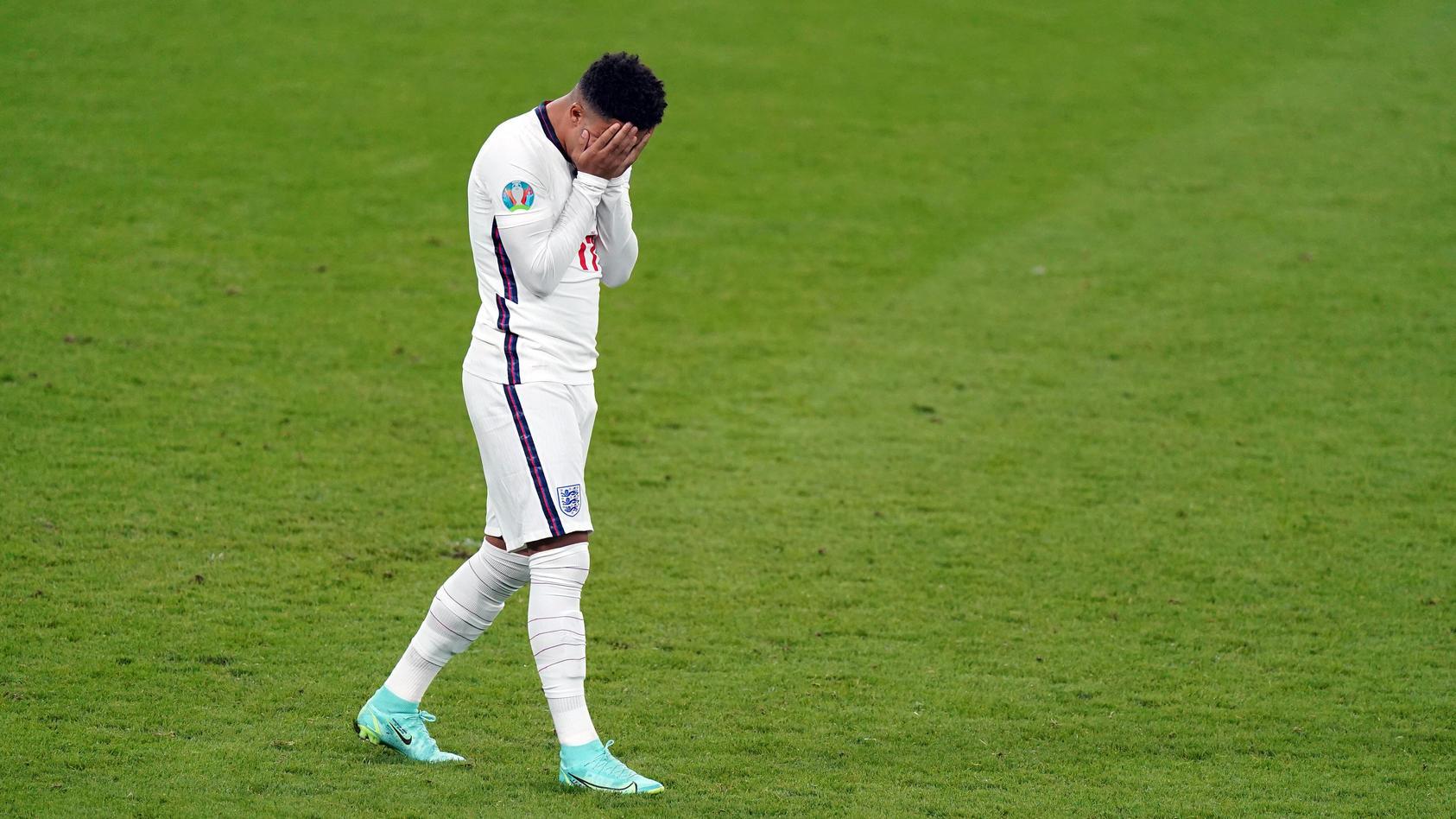 Italy v England - UEFA EURO, EM, Europameisterschaft,Fussball 2020 Final - Wembley Stadium England s Jadon Sancho stand