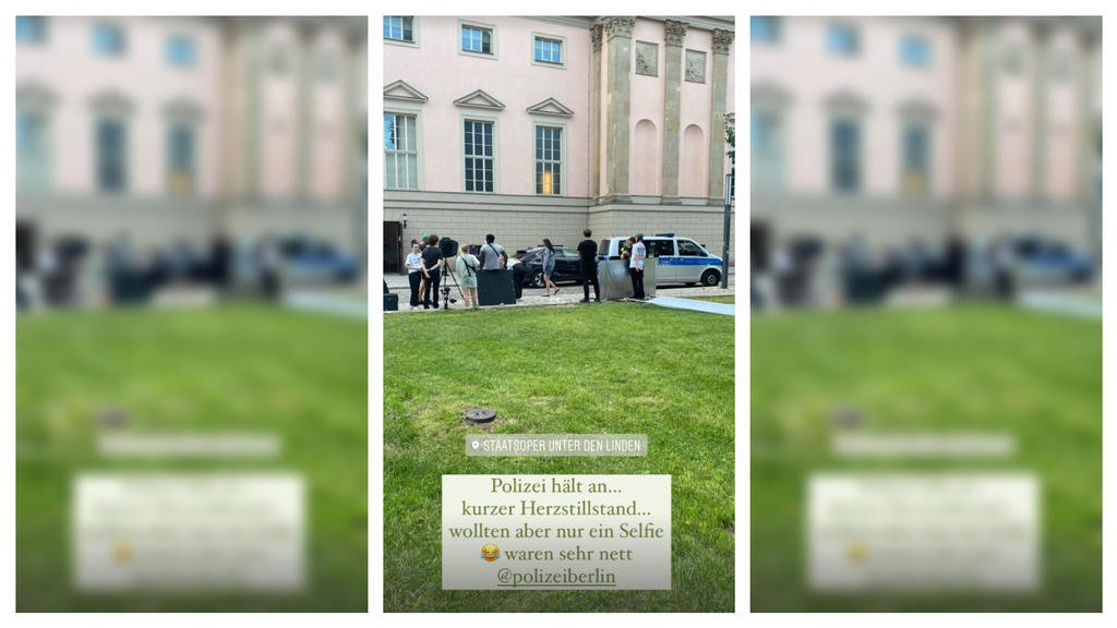 Das Model wurde beim Fotoshooting von der Polizei überrascht.