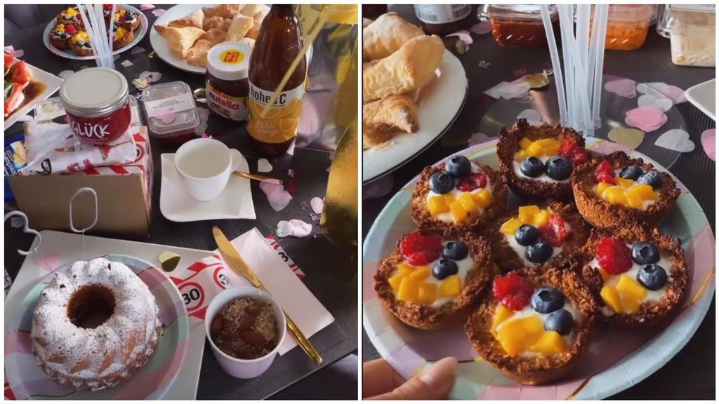 Sogar ihr liebsten Frühstücks-Leckereien gibt es auf der feierlichen Tafel.