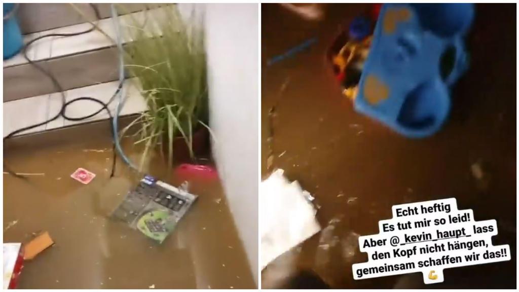 Kevin Haupt zeigt sein überflutetes Untergeschoss. Die Spielzeuge seiner Kinder schwimmen im Wasser umher.