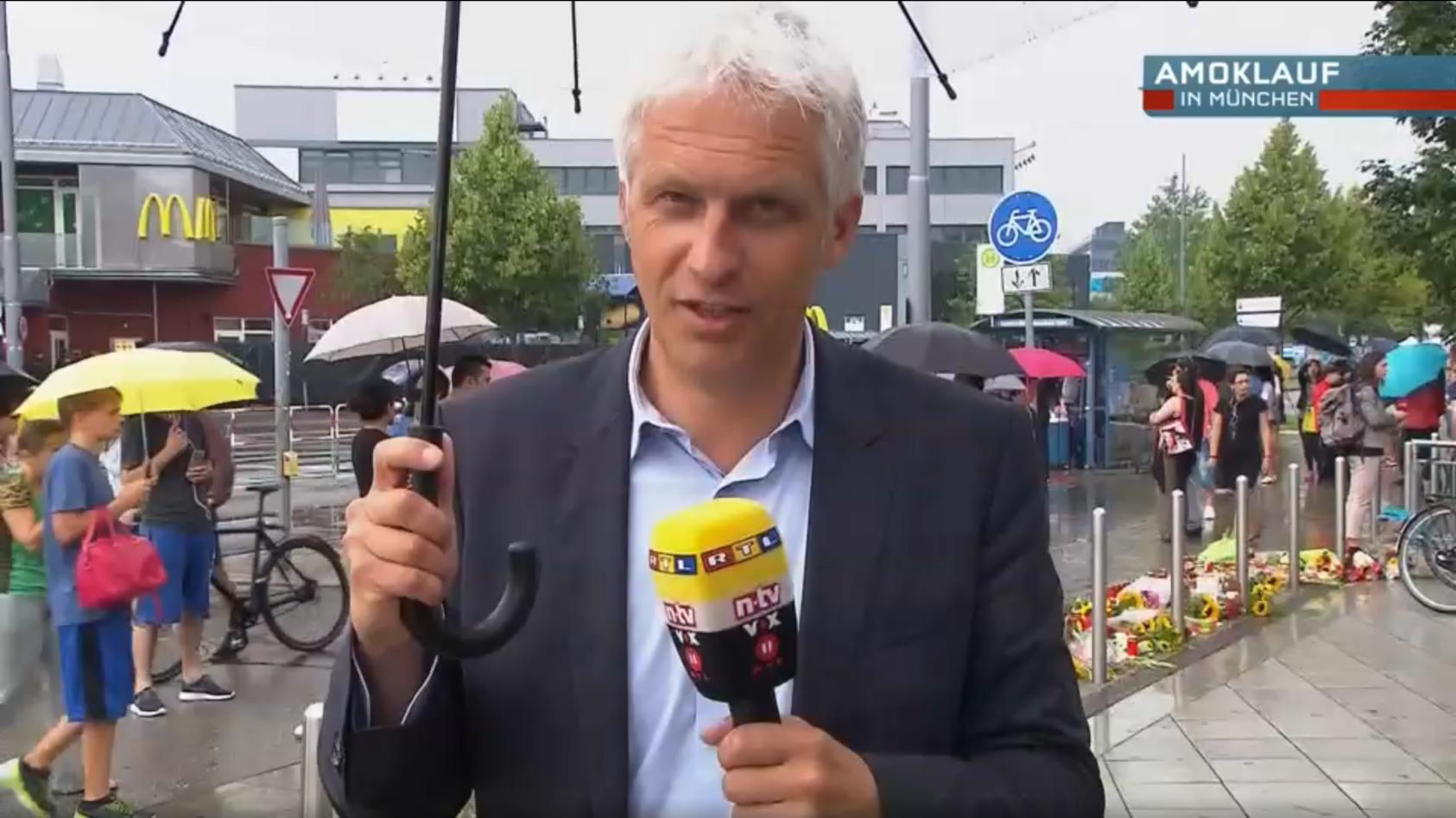 RTL-Reporter Christof Lang berichtete am 22.7.2016 aus München als einer der ersten Journalisten über den Amoklauf im Olympiaeinkaufszentrum.