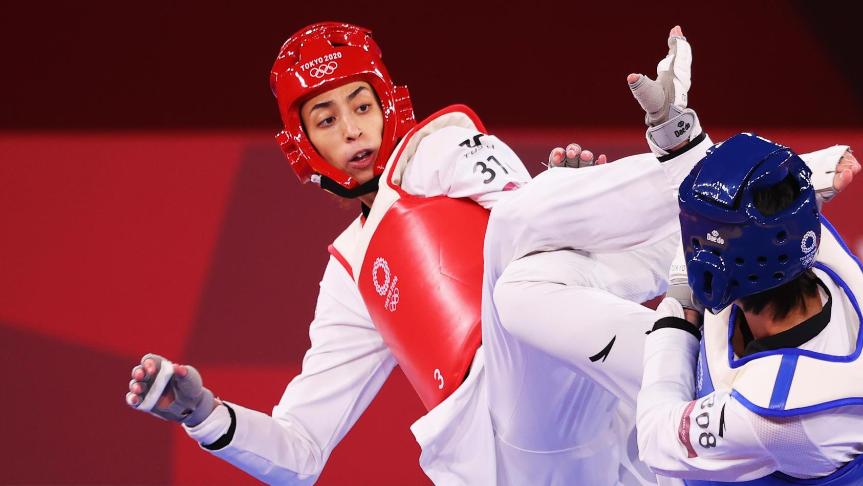 Kimia Alizadeh (l.) schrammte knapp an der Bronzemedaille vorbei.