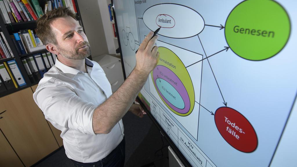 Thorsten Lehr, Saarbrücker Pharmazie-Professor, steht vor einem Bildschirm mit einer von ihm entwickelten Simulation der Corona-Entwicklung. (zu dpa «Experte: Herdenimmunität in Deutschland nicht erreichbar