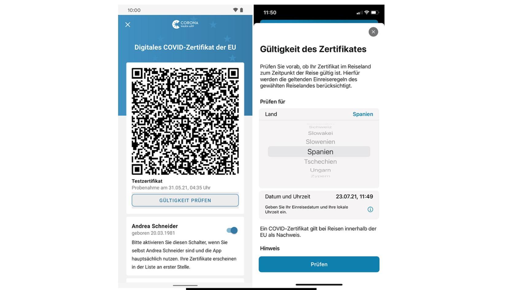 Die Version 2.6 der Corona-Warn-App bietet eine Zertifikatsprüfung für Reisen.