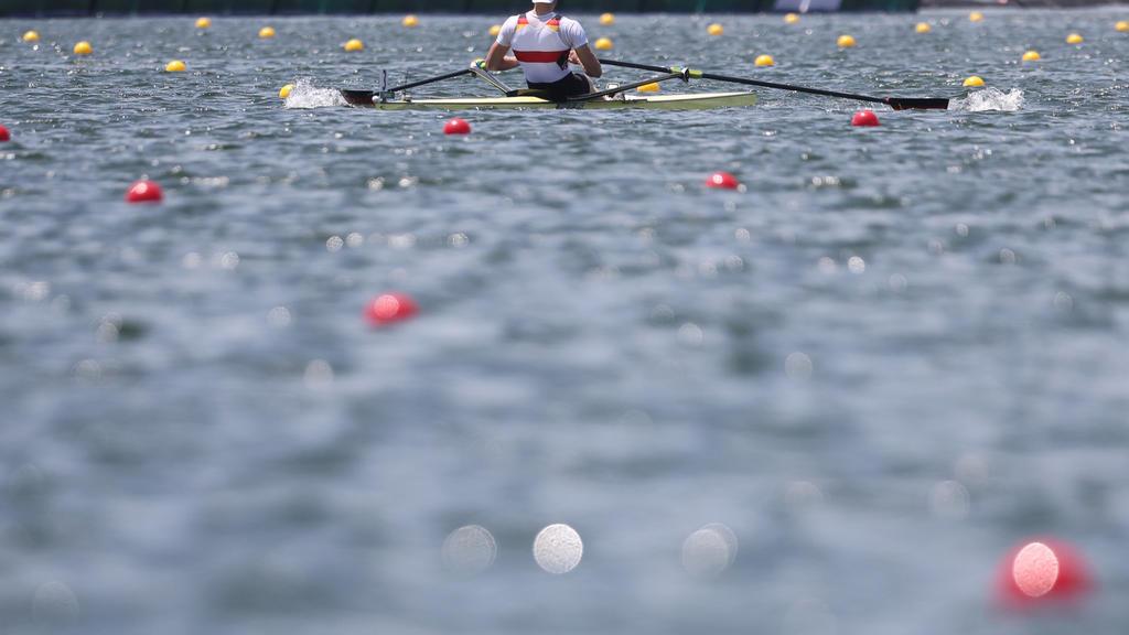 29.07.2021, Japan, Tokio: Rudern: Olympia, Männer, Einer, Halbfinale im Sea Forest Waterway. Oliver Zeidler aus Deutschland in Aktion. Foto: Jan Woitas/dpa-Zentralbild/dpa +++ dpa-Bildfunk +++