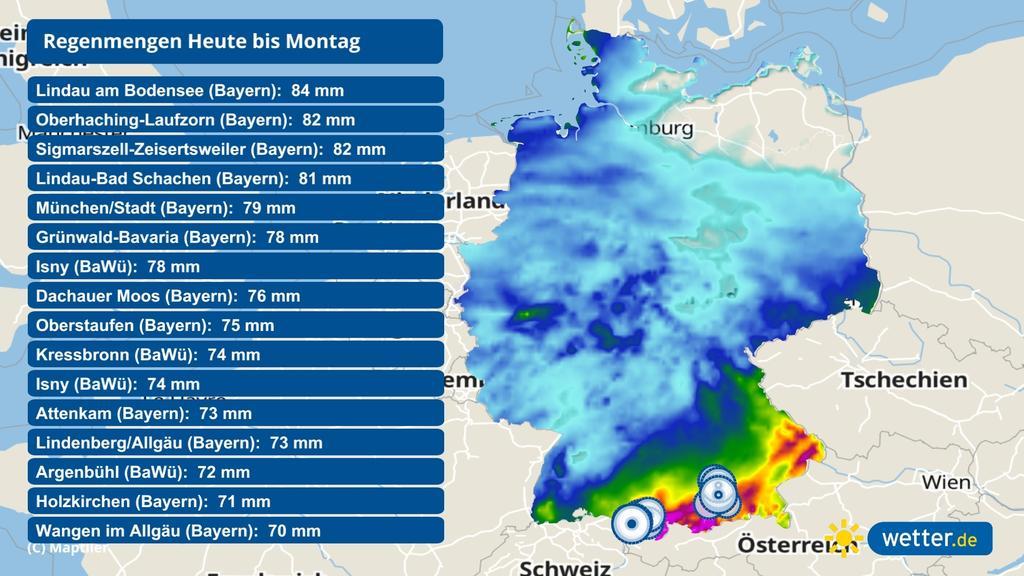 An den Alpen droht Starkregen.