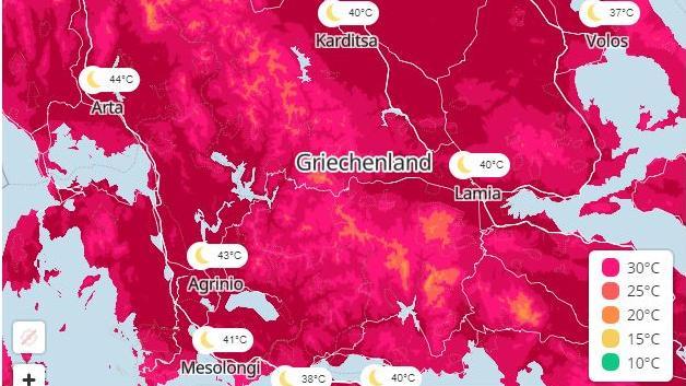 Gefährliche Hitze macht den Menschen in Griechenland zu schaffen.