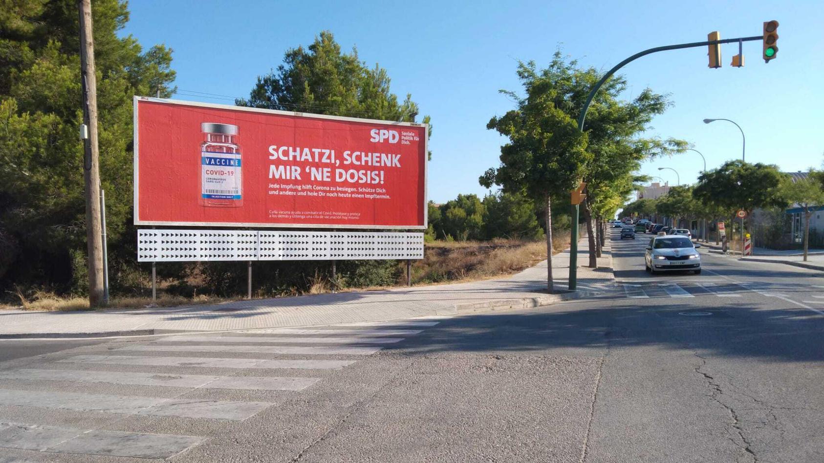 SPD-Plakatkampagne für Corona-Impfung auf Mallorca