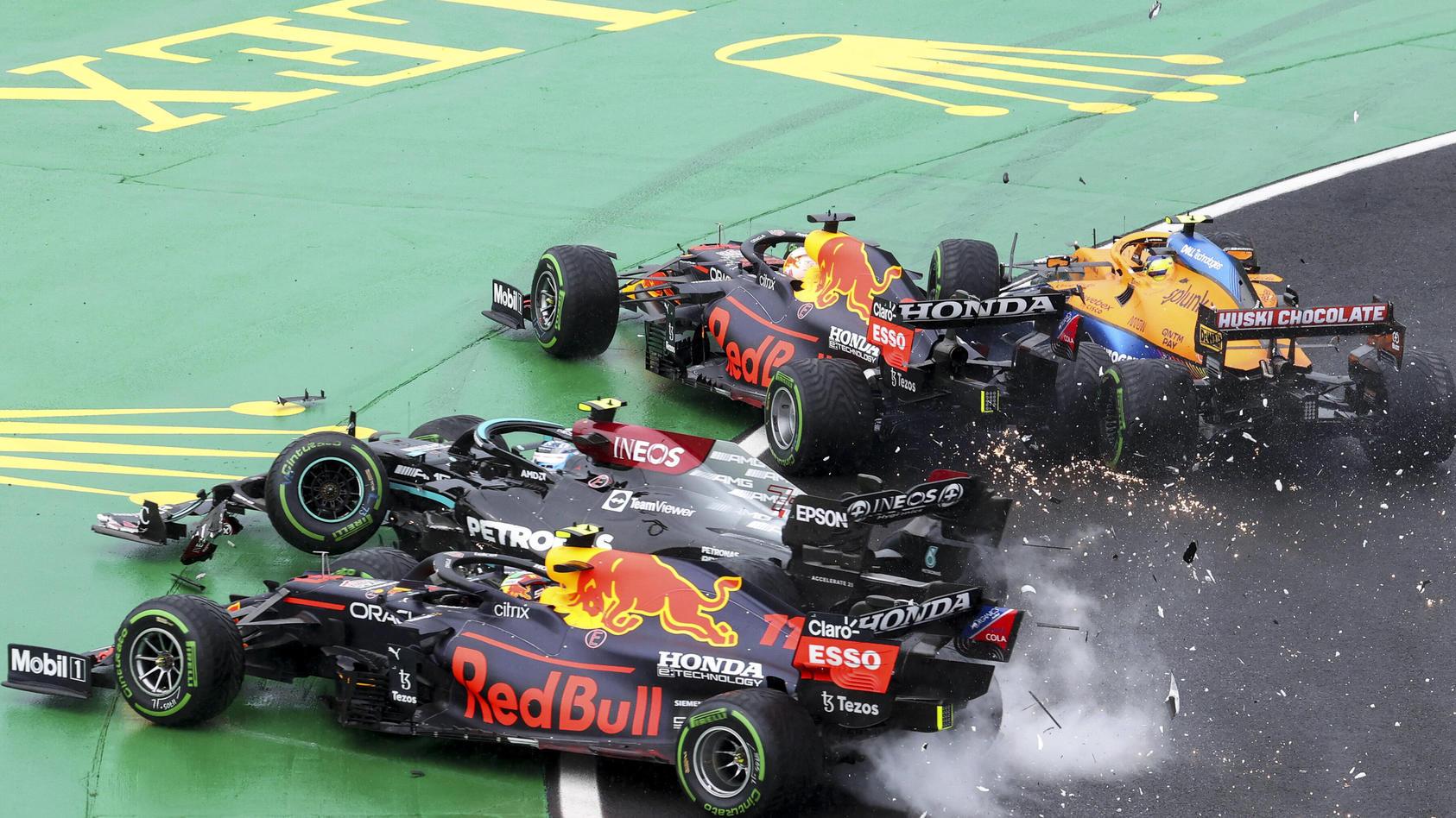 Valtteri Bottas ruiniert das Rennen von beiden Red-Bull-Piloten und McLaren-Mann Lando Norris