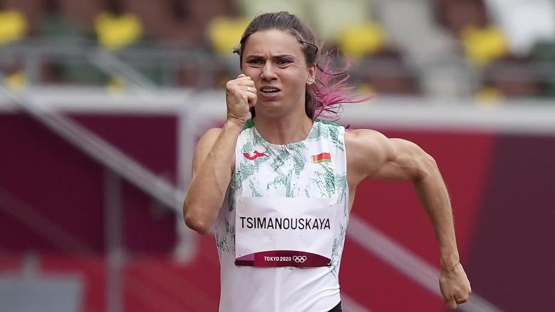 Die belarussische Olympia-Läuferin Kristina Timanowskaja.
