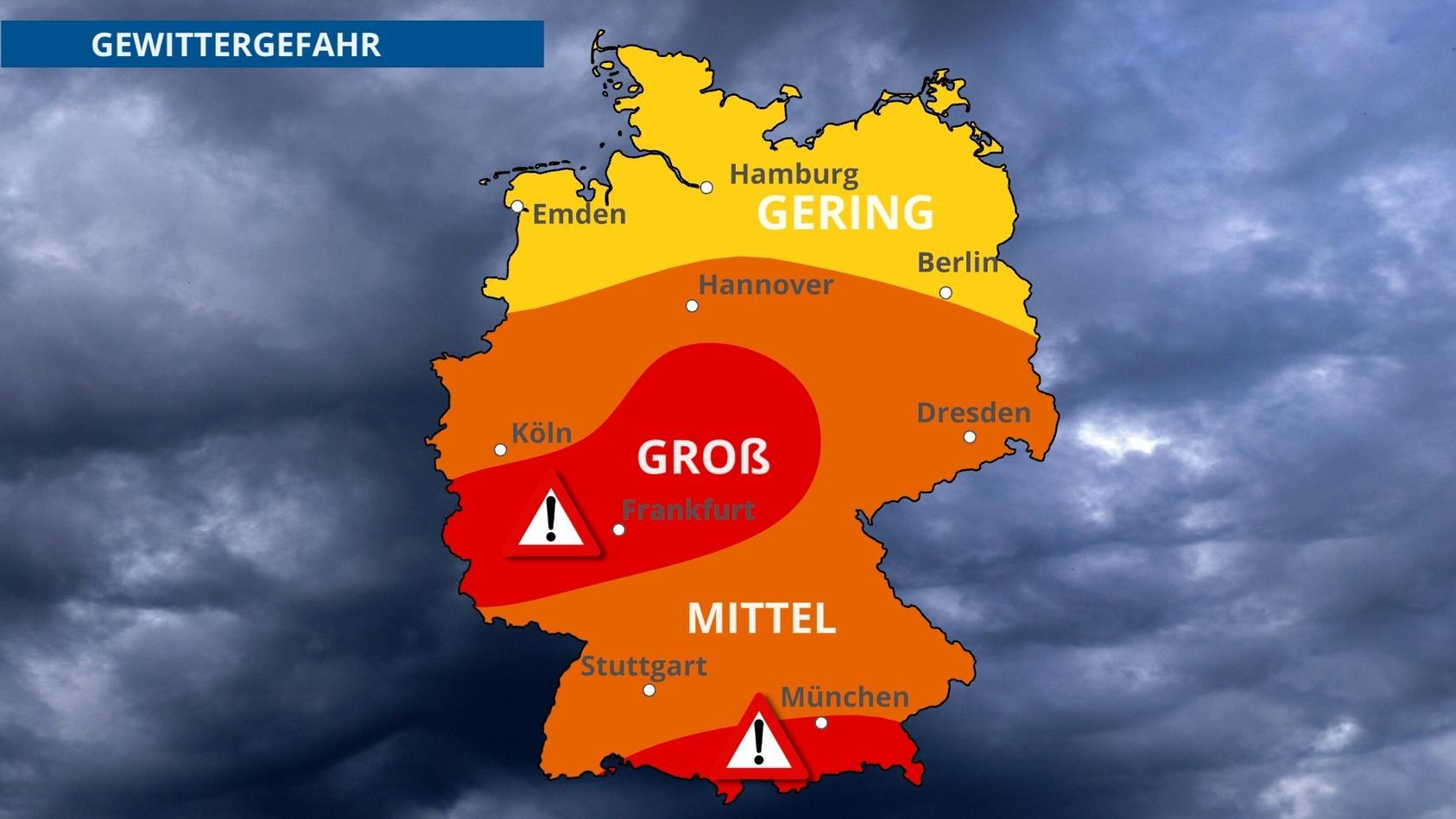 Die Unwettergefahr ist im Westen und Süden besonders groß.