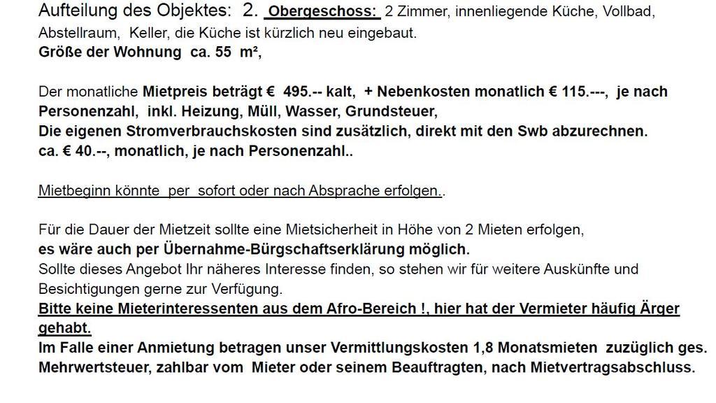 Mit so einem rassistischen Hinweis hat ein Makler in Bremen für eine Wohnung geworben.