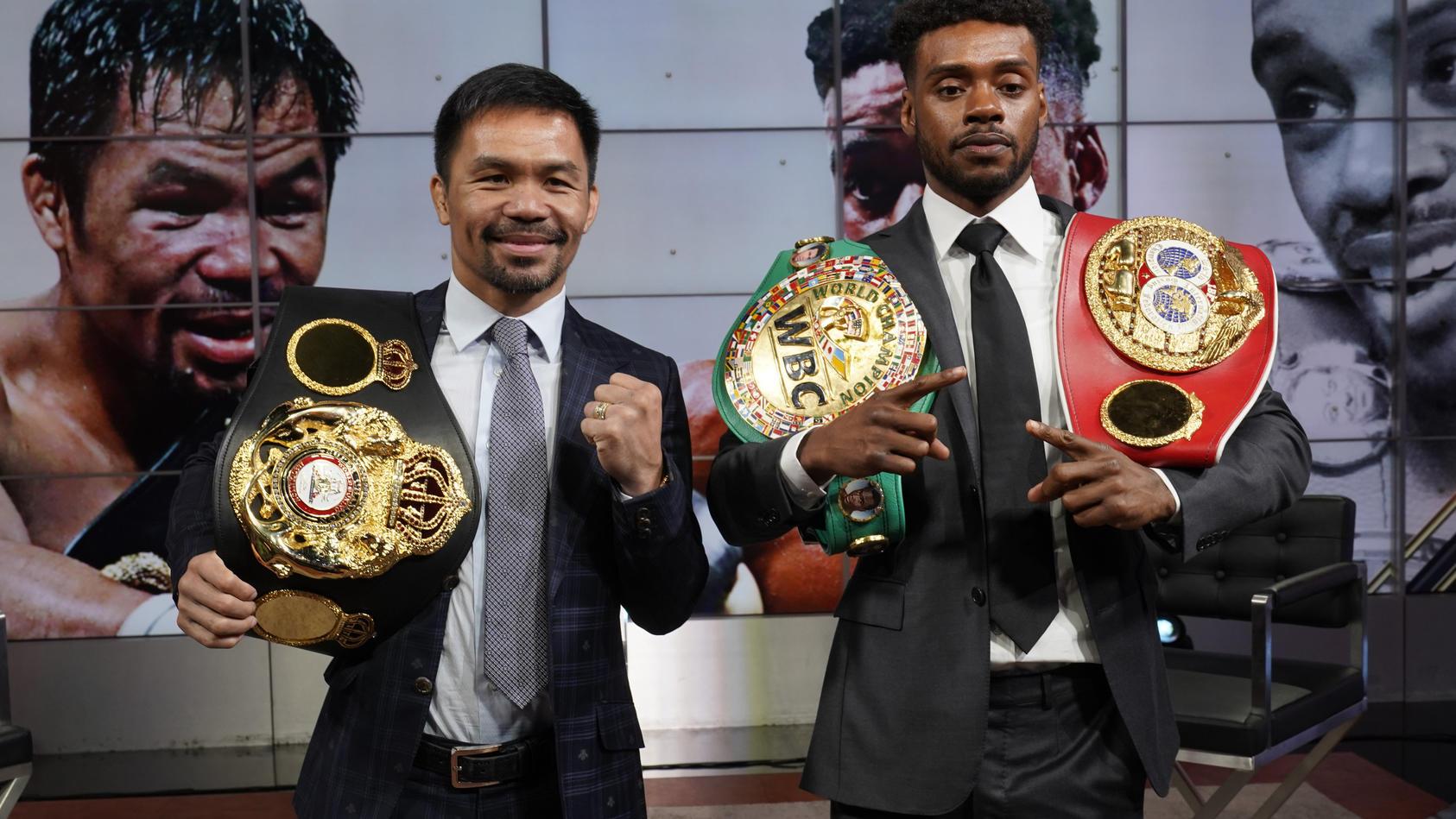 Aus dem Generationen-Duell zwischen Manny Pacquiao (l.) und Errol Spence jr. wird vorerst nichts