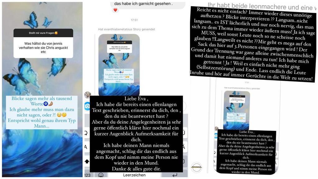 Links: Eva Benetatou schießt gegen Jenefer Riili Mitte: Jenny reagiert auf Evas Anschuldigung Rechts: Chris Broy mischt sich in den Streit ein
