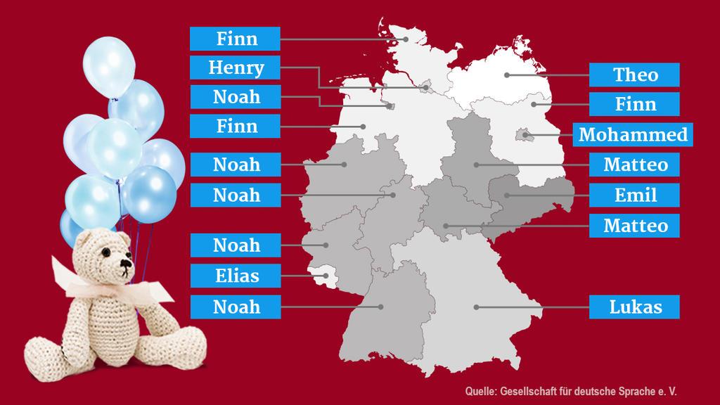 Grafik: beliebteste Vornamen für Jungen nach Bundesland