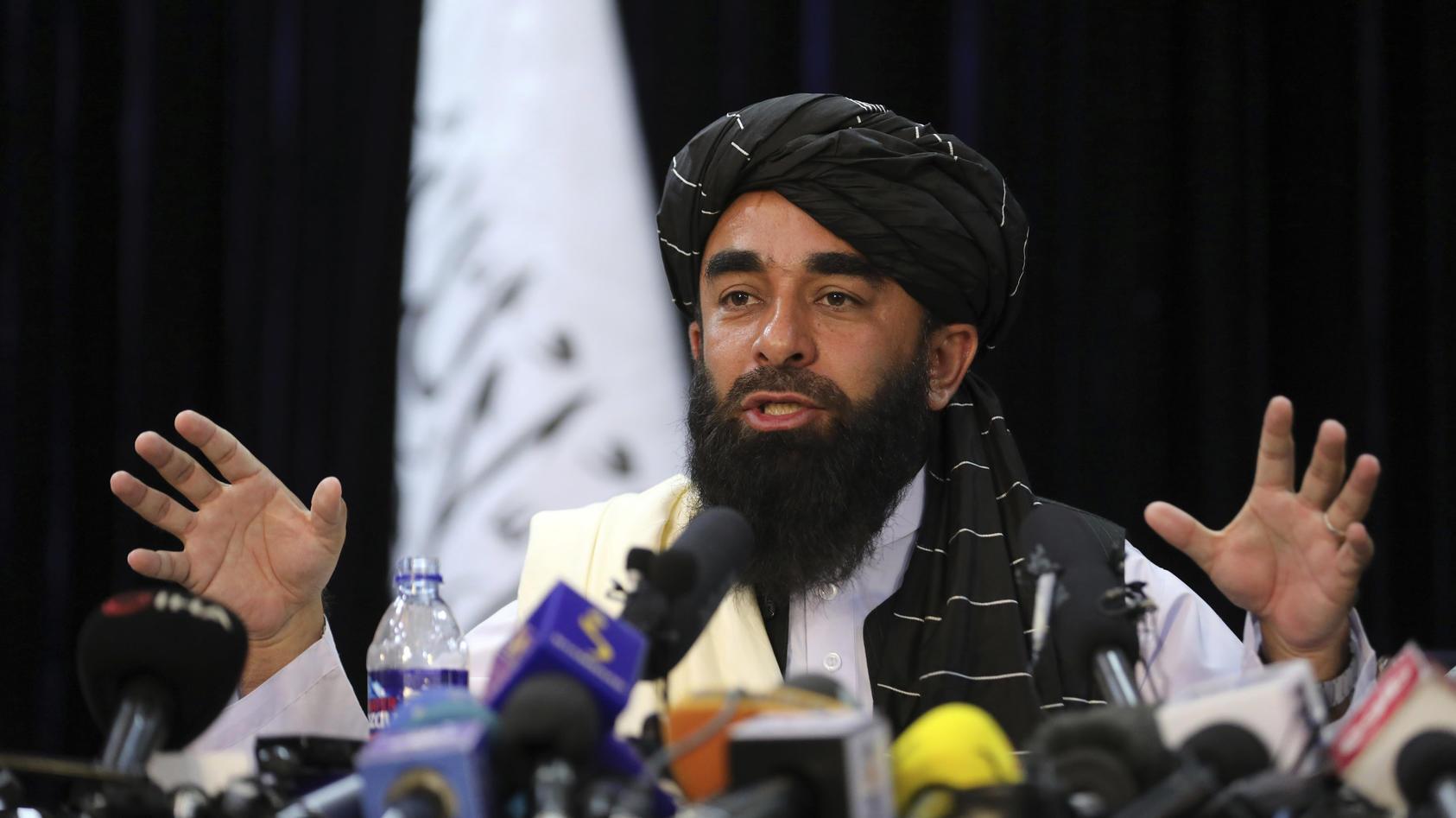 Zabihullah Mujahid hat in einer Pressekonferenz über das Anliegen der Taliban gesprochen.