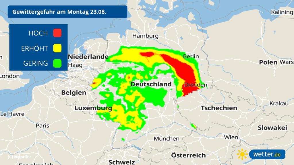 Gewitter am Montag: Vom Emsland bis nach Brandenburg besteht die höchste Wahrscheinlichkeit.
