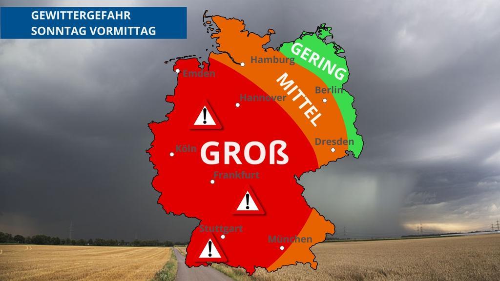 Das Gewitterrisiko am Sonntag in Deutschland: Nur der Bordosten wird ausgespart.