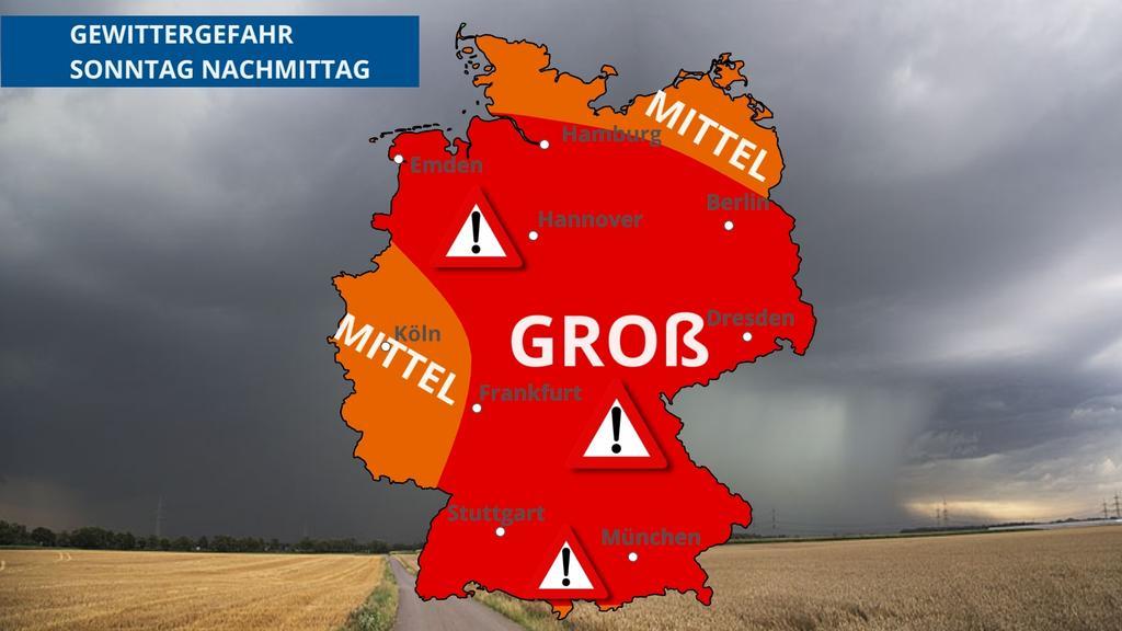 Das Gewitterrisiko am Sonntag ist in fast ganz Deutschland groß.